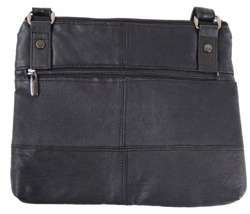 Damen Super Weiches Leder Schultertasche mit verstellbarem Riemen (schwarz, braun, hellbraun) Schwarz