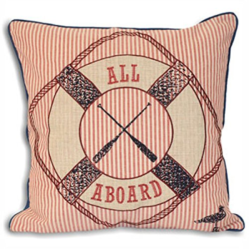 Riva Paoletti Tenby All Aboard Cushion Covers, Blue/Red, 45 x 45 cm