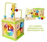 Toys of Wood Oxford Centro attività in legno con labirinto in legno, orologio da apprendimento e gioco sulle montagne russe - 5 in 1 giocattolo educativo per bambino