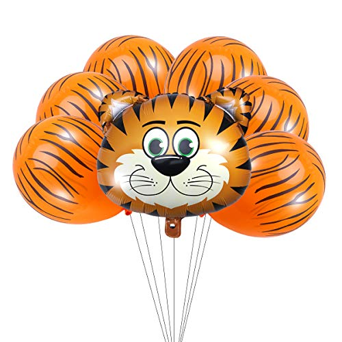 iniumfolie Ballons Kit Cartoon Tier Kopf Latex und Runde Ballons für Kinder Baby Shower Birthday Party Decor (7 stücke Tiger) ()