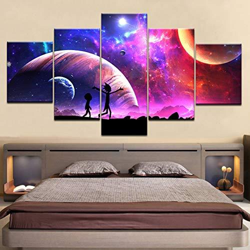jjshily 5 stück Poster leinwand Rick and Morty Cartoon Stern Himmel mond Wand Poster Kunst malerei für zu Hause Wohnzimmer Dekoration, 40x100 - Kunst-poster, Malerei