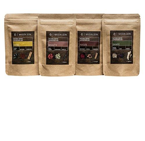 Kaffee Tasting | Ein Set – 4 Sorten Bio Superfood-Kaffee | Probe- und Geschenk-Set um unsere...