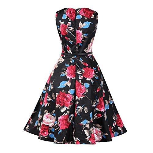 Damen A-Linie 50er Vintage Abendkleid Rockabilly Kleid Knielang Festliches Pin Up Kleid Partykleider Cocktailkleider 03Rot Rose