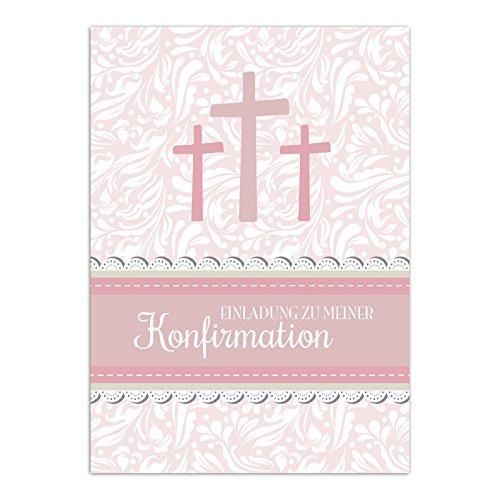 15 x Einladungskarten zur Konfirmation mit Umschlägen / 3 Kreuze, rosa, für Mädchen / Konfirmationskarten / Einladungen zur Feier