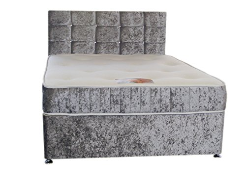 Silver Crushed Velvet Divan Bed Set Including Luxurious Memory Foam Mattress And Dimante Headboard (Available in 2'6 Small Single – 3'0 Single – 3ft6 Large Single – 4ft Small Double – 4ft6 Double)) (4ft6 (Double))