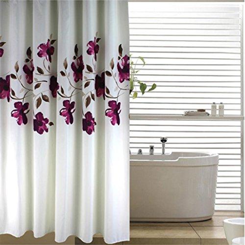 GYMNLJY Tenda della doccia in poliestere inchiostro fiori addensato impermeabile muffa Bagno Decorazione Vasca occlusione Curtain gancio di consegna , 2 , 150*180