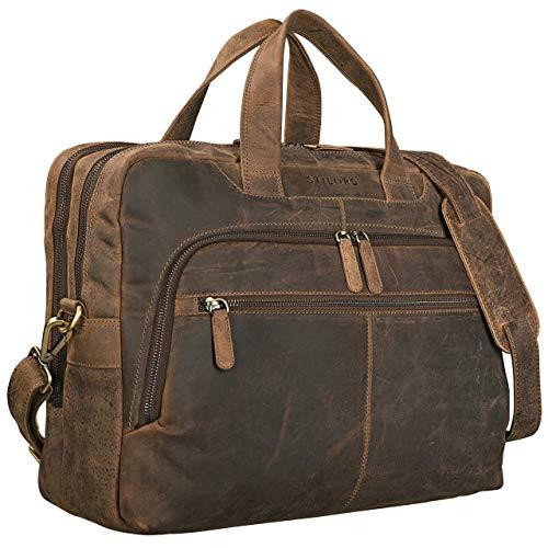 STILORD \'Lias\' Umhängetasche Leder Herren Braun Vintage 15,6 Zoll Laptoptasche Groß Schultertasche Arbeit Büro Uni Antik Echtleder