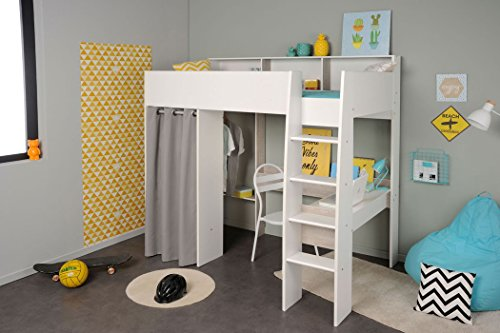 expendio Jugendbett Tomke 11 weiß 205x193x132 cm Bett Hochbett mit Schreibtisch Kinderbett Kinderzimmer Jugendzimmer - Loft Bett Mit Schreibtisch