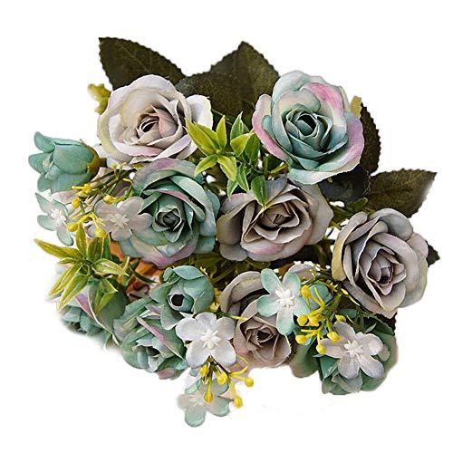 RUNI MO Künstliche Blumen Seide gefälschte Rosen Blumen - Home Küche Garten Party Tabelle Mittelstücke Dekor Hochzeit Bouquets Dekorationen (Blue Gray, 11 inch)