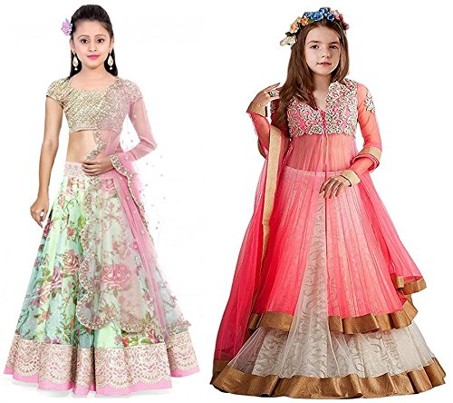 Market Magic World Girl's Pista & Pink Bhagalpuri, Net Semi Stitched Combo...