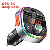 VicTsing Bluetooth FM Transmitter for Car, USB C PD 3.0 & Deep Bass Car Bluetooth Adapter/Radio Transmitter with 7 Color LED Backlit, 3 USB Ports, Hands-Free Call, Music Player Support U Disk/Tf Card