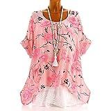 IMJONO Bluse Damen mit Flamingo Sommer Oberteile Hochwertig schöne und lässige Tunika Chiffon Bluse für Frauen Elegantes Langarm Hemd(EU-48/CN-5XL,Rosa)