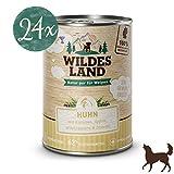 Wildes Land | Nassfutter für Hunde | Puppy Huhn | 24 x 400 g | mit Karotten, Äpfeln, Wildkräutern & Distelöl | Glutenfrei | Extra viel Fleisch | Beste Akzeptanz und Verträglichkeit | Rohstoffe aus der Lebensmittelproduktion