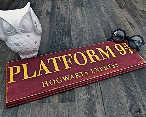 Zhaoshoping Plattform 9 34 Hero Hogwarts Wand Holz Hogwarts Express Schild Tür Deko Holzschild mit Zitaten -