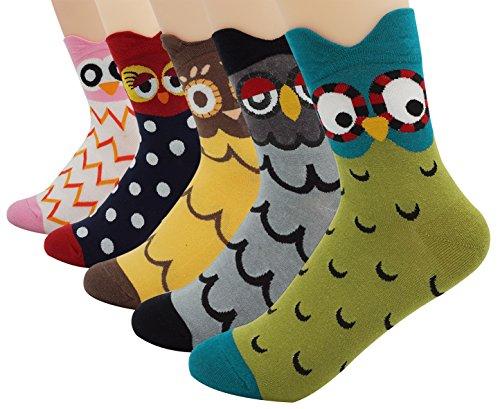 bienvenu-womens-ladys-5-pack-footed-cute-owl-design-cotton-crew-socks