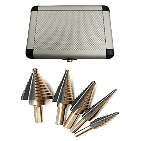 5pcs HSS Stufenbohrer - Titanium coated Step drill 50 sizes Set with aluminum housing for drilling wood and steel holes