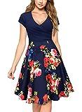 Miusol Damen Elegant Wickelkleid Kurzarm Blume Patterned Casual Kleid Blau Rot M