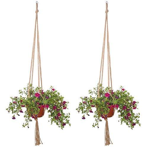 LAAT Blumenampel Seil Dual-Blumenampel Pflanze Hanger Dekoration Jute Hanf Macrame Seil Blumentopf Pflanze Hängenden Korb Halter Dekoration für Indoor Outdoor Balkon Decken Liefert 2 stücke