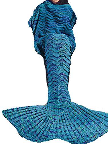 mrymt Meerjungfrauen-Decke/Sehr Weich Und Warm, Schlafsack, Kostüm, Meerjungfrauen-Schwanz, Weihnachten, Geburtstag, Für Kinder Und Teenager & (180 X 90Cm/70.9 X 35.4 Zoll, Blau) SHOME (Meerjungfrauenschwanz Kostüm)