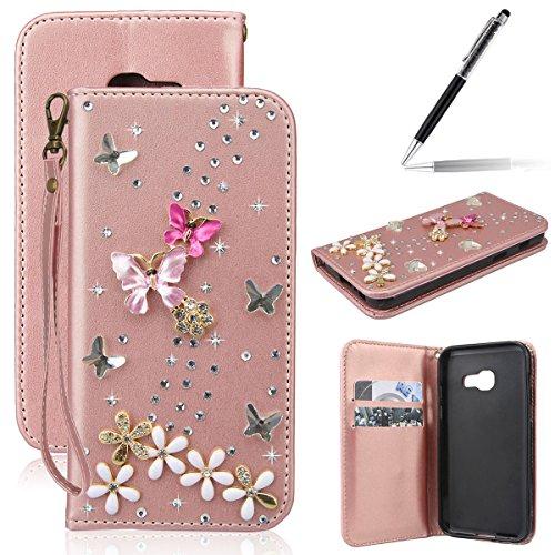 Coque Samsung Galaxy A3 2016, GrandEver à rabat PU Cuir Aimant 3D Papillon et Fleur Glitter Diamant Bling Bookstyle Fonction Stand Housse Wallet Etui Portefeuille --- Or Rose + {Stylet d'Ecran Tactile}