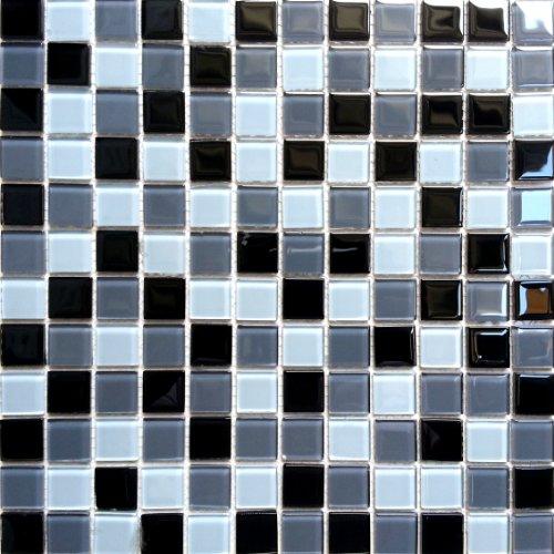 30x30cm Black Blue-Grey Glass Mosaic Tiles Sheet (MT0013)