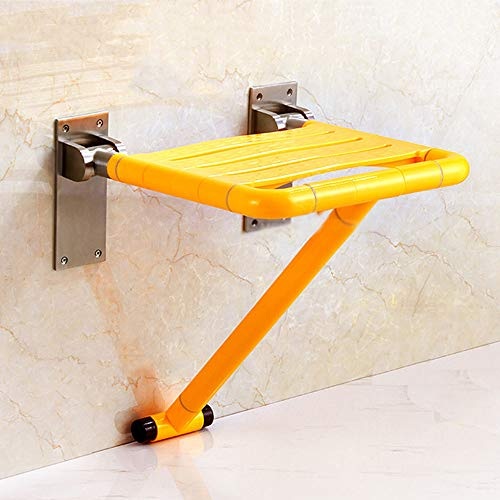 BTOOSTOATH Duschklappsitz zur Wandmontage, Duschhilfe für Duschhilfe, Stützender Badesessel, geeignet für ältere/behinderte/Schwangere Frauen, 200 kg Tragkraft,Yellow