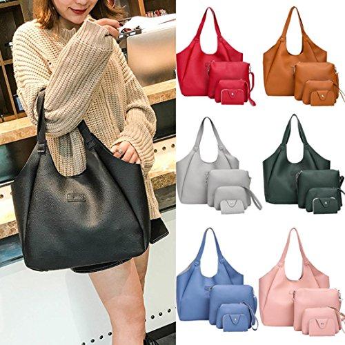 Frauen Vier Set Handtasche Sansee Damen Schultertasche Vier Stücke Einkaufstasche Crossbody Wallet Umhängetasche Grün