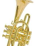 Cornet miniature - Laiton couleur dorée - objet de décoration - cadeau musique - Livré dans son coffret avec support - Hauteur 9 cm