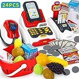 Rolanli Supermarkt Kasse Spielzeug, 24er Set Supermarktkasse Scanner Rollenspiel Spielzeug für Kinder