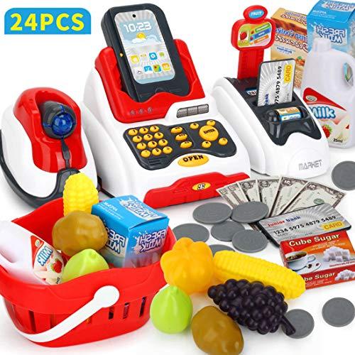 Touchmark Supermarkt Registrierkasse, Kinder Spiel Kasse mit Scanner,Kaufladenzubehör, Musik,Licht, ab 3 Jahren, 24-TLG