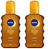 Nivea Sun Deep Tanning Oil Spray NO SPF, Golden & Lond-Lasting Tan 200ml (Pack of 2 )
