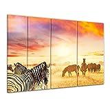 Keilrahmenbild - Zebras in der Savanne - 180x120 cm 4 teilig - Bilder als Leinwanddruck - Wandbild von Bilderdepot24 - Tierwelten - Afrika - Wilddpferde - Zebraherde im Sonnenuntergang