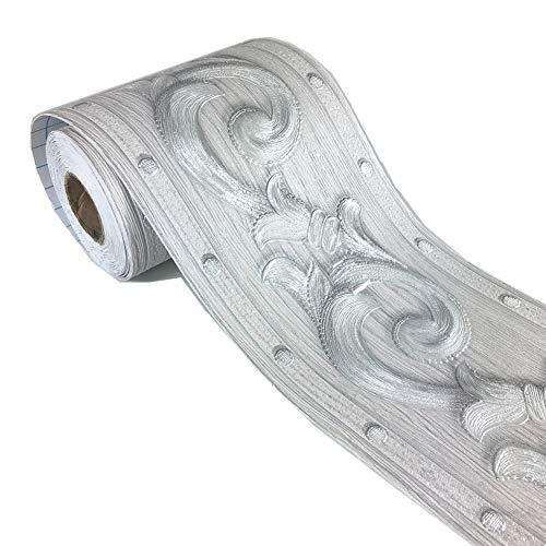 Elegante graue Blumenmuster-Tapetenbordüre zum Aufkleben für Wohnzimmer, Küche, 10 cm x 5 Meter, 1 Stück