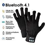 HANPURE Bluetooth Handschuhe, drahtlose Bluetooth Handschuhe, Touchscreen-Strick-Winter -Handschuhe, eingebauten Stereo-Lautsprecher, Gloves für Outdoor-Sportarten, Weihnachtsgeschenke (Schwarz)