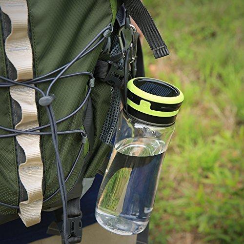 Aglaia LED lanterna da campeggio, USB e solare ricaricabile luce esterna con impermeabile IPx6e 3livelli di luminosità, 600ml Bottiglia per bere, portaoggetti, escursionismo