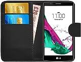 G-Shield Coque pour LG G4, Étui en Cuir Portefeuille avec Porte-Cartes, Noir