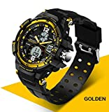 Digital Sports Watch Mens Outdoor Military Stopwatch Alarm Black gold wterproof