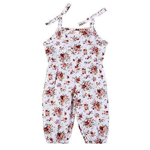 Loveble Baby Mädchen Sommer Ärmelloses Blumenmuster Schlinge Spielanzug Overall Alter 6 Monate-3 Jahre (Verziert Mieder)