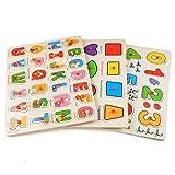 Keepgar Profun 56 PCS Wooden Jigsaw Puzzle 3 Alphabet/Number/Graph Set Educational Puzzle Toys for Kids