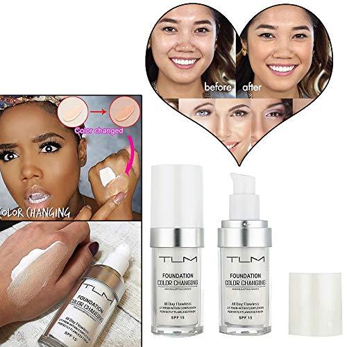 Flawless Colour Changing Foundation Makeup Base Nude Face Cover Flüssiger Concealer Puder in einem Make-up, 24 + Stunden makellose Volldeckung, LSF 50, Natürlich, AMhomely® (Weiß) - Concealer-ivory-maybelline-cover Stick