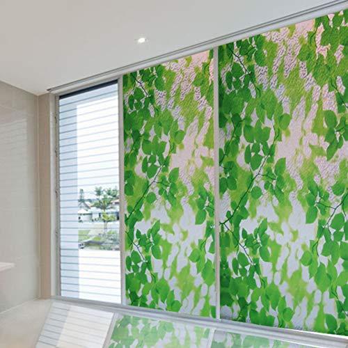 DULPLAY 3D Dekorative Fensterfolie, Privatsphäre Grüne blätter Glas Filme Wasserdicht Glasmalerei Fensterfolie statische Wärmeregulierung Anti-uv Kein kleber Pflanze Blume-A 100x92cm(39x36inch)