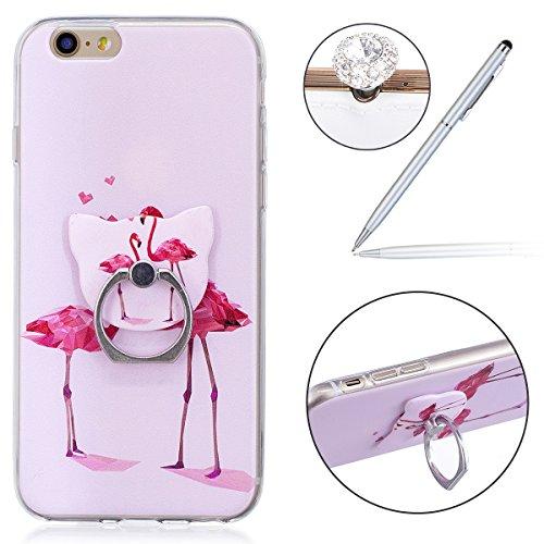Felfy Case iPhone 6S Silicone,iPhone 6S Coque Transparente,iPhone 6 Coque Anti Choc Doux TPU Silicone Etui Housse avec Flamant Papillon Fille Motif Ultra Mince Transparent Crystal Clair Coque de Prote Ring Flamingo