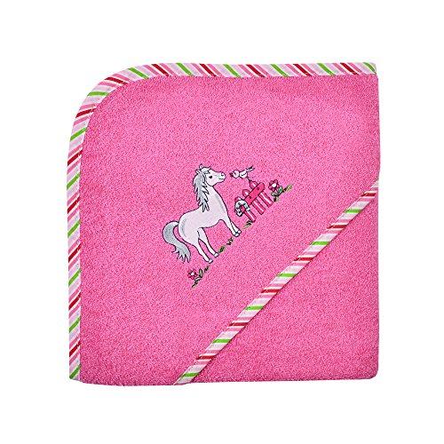 """Wörner Kapuzenbadetuch \""""Pferd\"""" Frottier pink Größe 80x80 cm"""