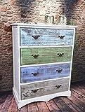 Kommode Schrank mit Schubladen bunt Landhaus Shabby Chic Vintage Weiß (H78 x B60 x T33 cm LV1009)