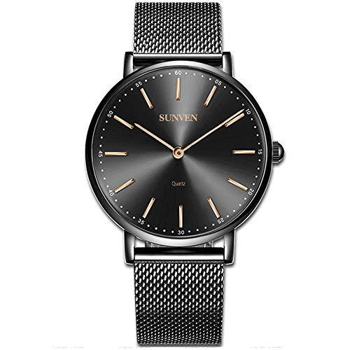 Sunven orologio da uomo quarzo super sottile nero impermeabile