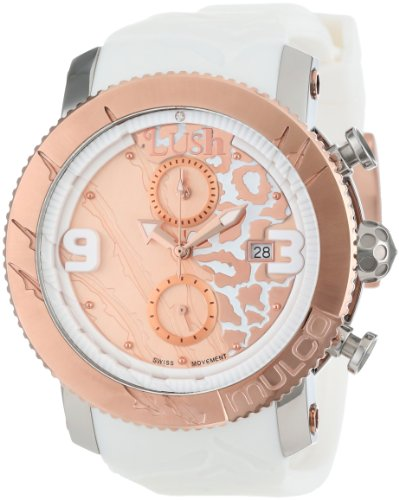 Mulco Women's 45mm White Silicone Band Steel Case Swiss Quartz Rose Gold-Tone Dial Watch MW5-2496-013