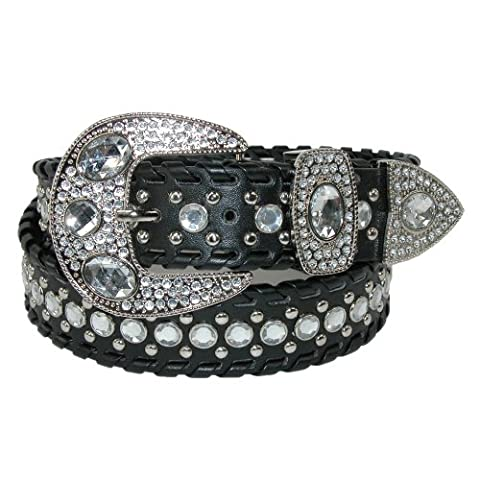 CTM Women's Western Belt with Rhinestones and Studs, Small, Black