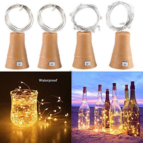 goodjinHH LIGHT 5 Pack LED Solar Wein Flasche Lichter 2 Meter 20 Lichter Cork Shaped Light Kupferdraht Starry String Lights Für Flasche DIY/Hochzeit/Weihnachten/Thanksgiving/Dating (Gelb)