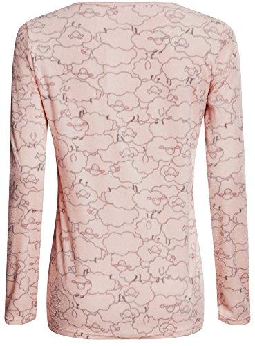oodji Ultra Damen Haus-Pullover mit Schäfchen Druck Rosa (4025G)