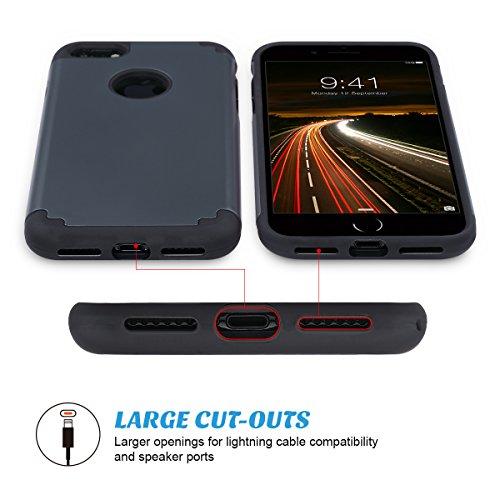 iPhone 7 Cover, ULAK iPhone 7 Custodia ibrida a protezione integrale con parte esterna in 2 strati di morbido silicone e interno rigido Case Cover per Apple iPhone 7 (Grigio+Nero) Grigio+Nero
